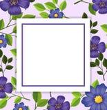 Purple flower card template royalty free stock photos