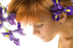Purple flower and girl Royalty Free Stock Photos