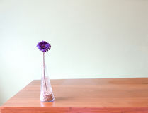 Purple flower in glass vase put on wooden table Stock Image