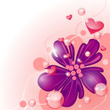 Purple flower and hearts Stock Images