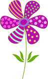 Purple Flower Illustration. With green dots, pink hearts, white flowers, green leaves, yellow stars, flora, plant, nature Royalty Free Stock Photo