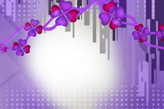 purple flower and lines top side, abstract background Royalty Free Stock Photography