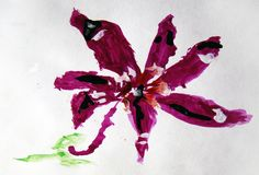 Purple flower painted by child. Watercolor painting of a single purple flower made by child stock illustration