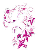 Purple flower  and vines pattern. Illustration drawing of beautiful purple flower pattern Royalty Free Stock Photography