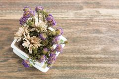 Purple flower on wood table.Copy space. stock images