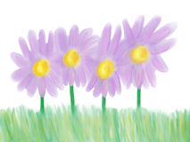 Purple Flowers. Illustration of 4 purple flowers in the grass Stock Images