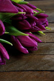 Purple flowers on the boards Royalty Free Stock Photos