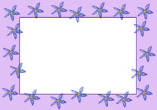 Purple Flowers Border. Purple border of purple, blue and yellow flowers Royalty Free Stock Photos