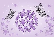 Purple flowers with butterflies Stock Images