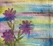 Purple Flowers on Canvas Royalty Free Stock Image