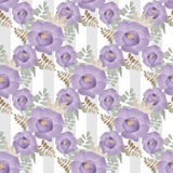 Purple flowers floral seamless pattern on striped background Royalty Free Stock Image