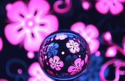 Purple with flowers glass ball royalty free stock photo