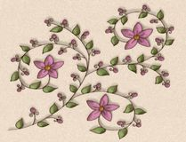 Purple Flowers Illustration Stock Images