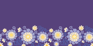 Purple flowers and leaves horizontal seamless Stock Images