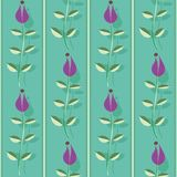 Purple flowers with leaves, stitch stripes and shadow texture. Vertical seamless vector pattern on turquoise background stock photo