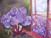 Purple flowers near the window with purple field. Painting. vector illustration