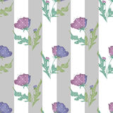 Purple flowers seamless pattern on striped Stock Images