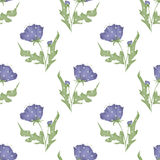 Purple flowers seamless pattern on white Stock Image