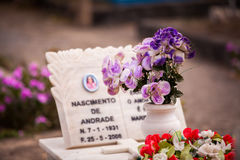 Purple flowers. In a small white vase standing on a marble grave Stock Photos
