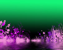 Purple flowers by water stock image