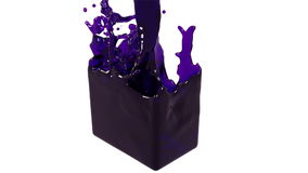 Purple fluid fills up a container slowly. sirup. Close-up view of purple fluid fills up a rectangular container in slow motion isolated on white background stock footage