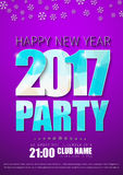 Purple flyer template with blue abstract polygonal numbers and l. Poster Design for the New Year`s party in 2017 .. purple flyer template with blue abstract Stock Image