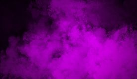 Purple fog effect on isolated black background for text or space. Texture smoke stock images
