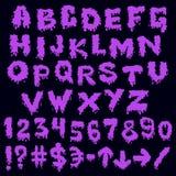 Purple font smudges. alphabet splashing Royalty Free Stock Image