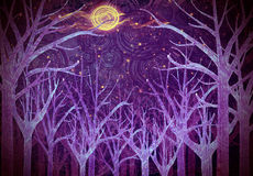 Purple forest and full moon Stock Photo
