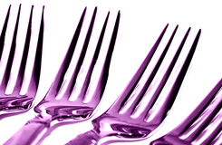 Purple Forks. Macro Picture of 4 Forks Royalty Free Stock Photography