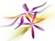 Purple fractal flowers with green, yellow wavy background Stock Photography