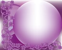 Purple frame. Purple flowers against puple, lilac spherical backdrop Royalty Free Stock Photos