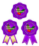 Purple frame christmas. Christmas frame with a purple ribbon character Stock Illustration