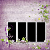 Purple Frame for four photos Stock Photos