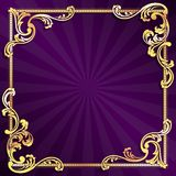 Purple frame with gold filigree. Stylish banner with metallic swirls. Graphics are grouped and in several layers for easy editing. The file can be scaled to any royalty free illustration