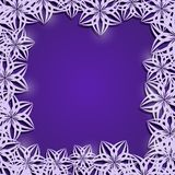 Purple Frame of Stylized Abstract White Flowers Stock Photography