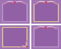 Purple frames. Four decorative cute purple frames with pattern and hearts set Royalty Free Stock Photos