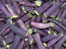 Purple French beans Phaseolus vulgaris - cut for cooking. Stock Photo