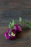 Purple fresh kohlrabi cabbage Royalty Free Stock Photo