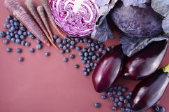 Purple fruits and vegetables Stock Image