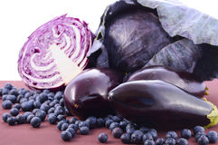 Purple fruits and vegetables Royalty Free Stock Images