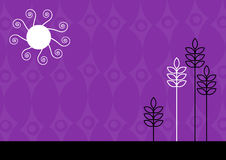 Purple funky illustration. Vector art. Purple funky illustration of sun and plants. Vector Stock Illustration