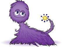 Purple furry creature. Cute fluffy creature purple and yellow tail Royalty Free Stock Photos