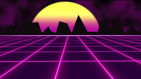 Purple futuristic 80's synthwave with landscape and sun grid background.. Future text with purple futuristic 80's synthwave with sun grid background royalty free illustration