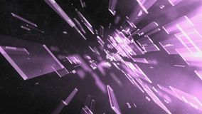 Purple Galaxy Glass. Flying particles and purple glass stock footage