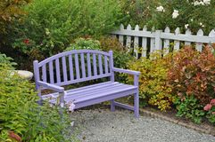 Purple garden bench on patio stock images