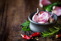 Purple garlic cloves Stock Image