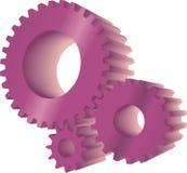 Purple gears. Set of three purple working gears Royalty Free Stock Photo