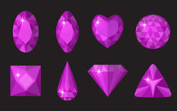 Purple gems set. Jewelry, crystals collection isolated on black background. Precious stones of different shapes, cut Stock Image