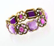 Purple gemstone bracelet Royalty Free Stock Photo